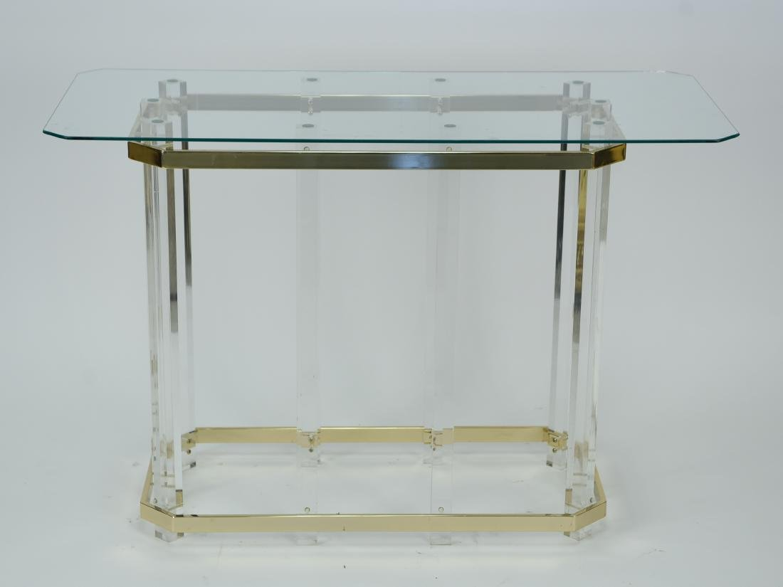 HOLLIS STYLE LUCITE CONSOLE TABLE W/ GLASS TOP - 2