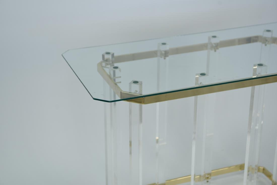 HOLLIS STYLE LUCITE CONSOLE TABLE W/ GLASS TOP - 3