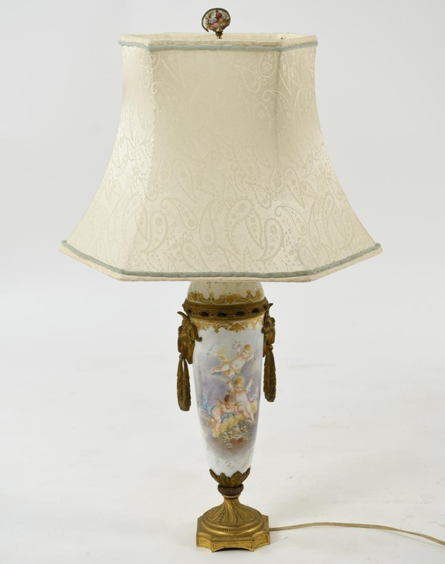 MANNER OF SEVRES PORCELAIN & ORMOLU LAMP
