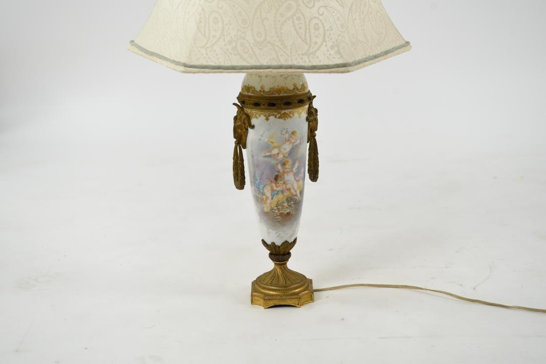 MANNER OF SEVRES PORCELAIN & ORMOLU LAMP - 2