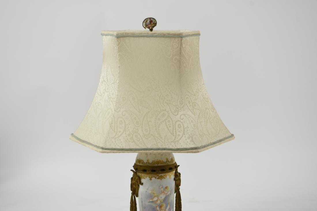 MANNER OF SEVRES PORCELAIN & ORMOLU LAMP - 3