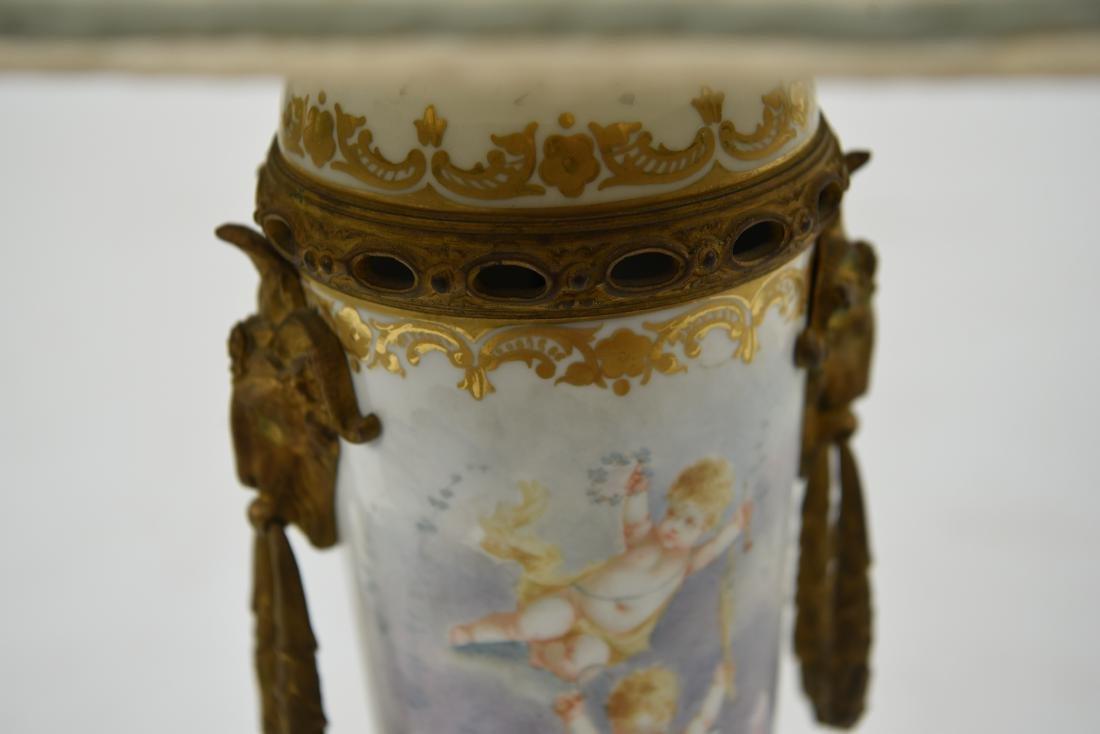 MANNER OF SEVRES PORCELAIN & ORMOLU LAMP - 5