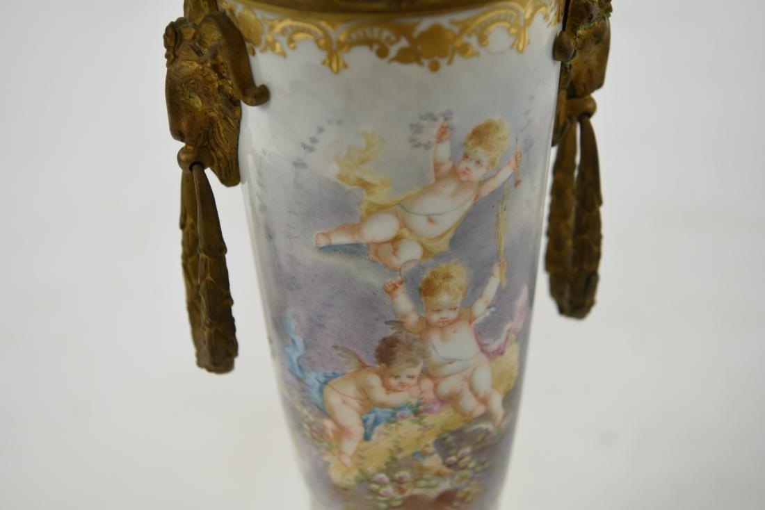 MANNER OF SEVRES PORCELAIN & ORMOLU LAMP - 6