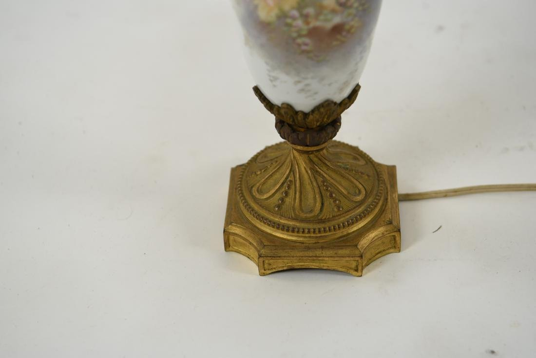 MANNER OF SEVRES PORCELAIN & ORMOLU LAMP - 7