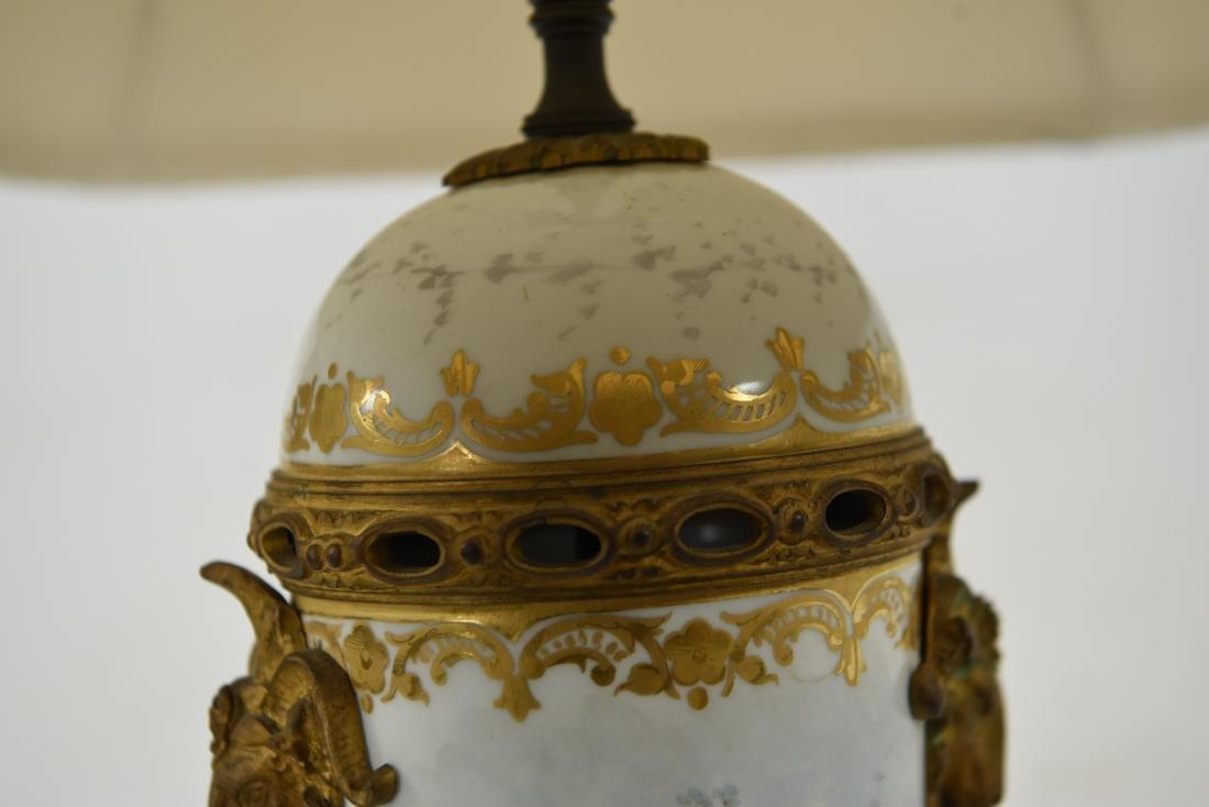 MANNER OF SEVRES PORCELAIN & ORMOLU LAMP - 8