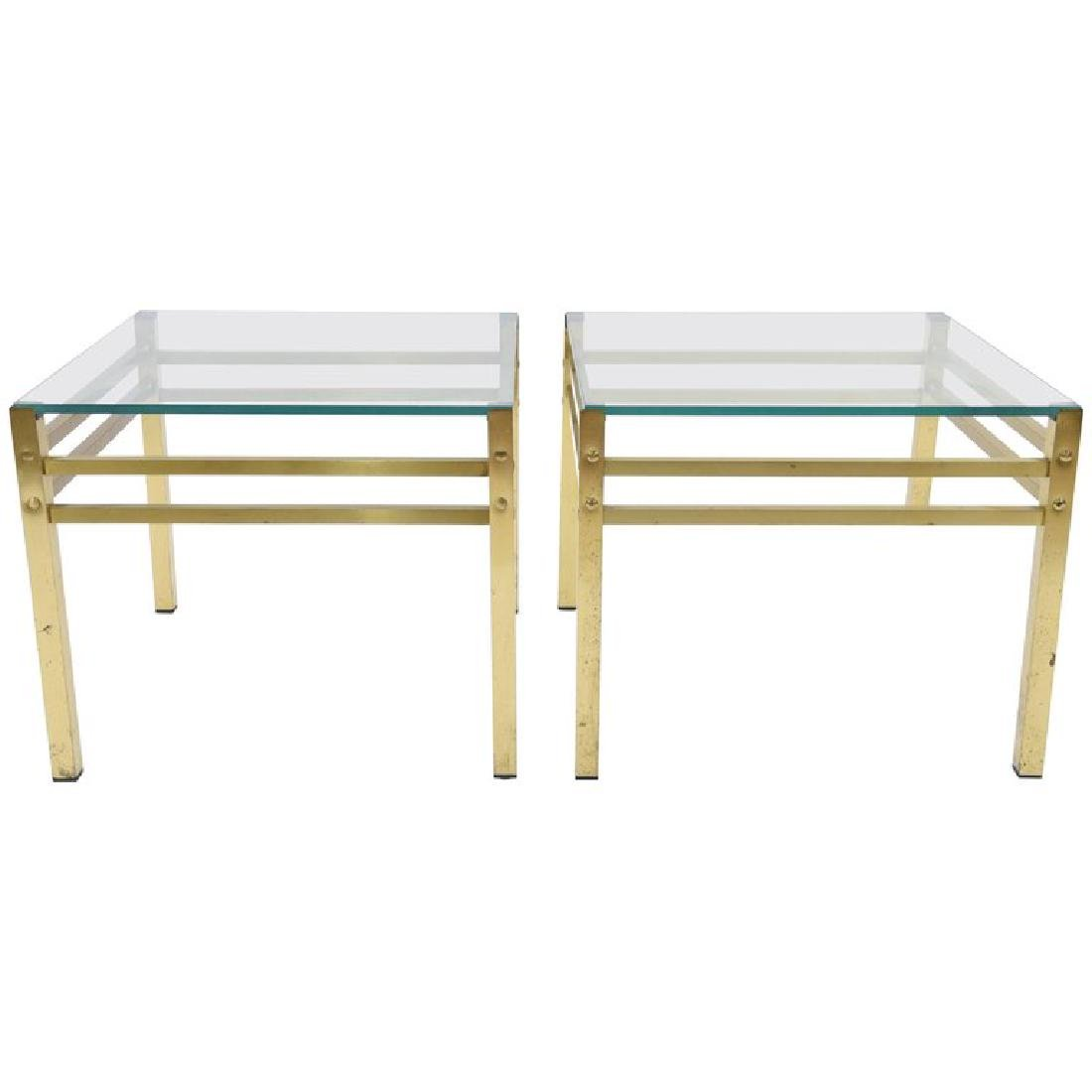 PAIR OF MID-CENTURY BRASS & GLASS SIDE TABLES