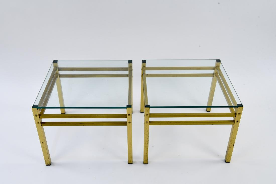 PAIR OF MID-CENTURY BRASS & GLASS SIDE TABLES - 2