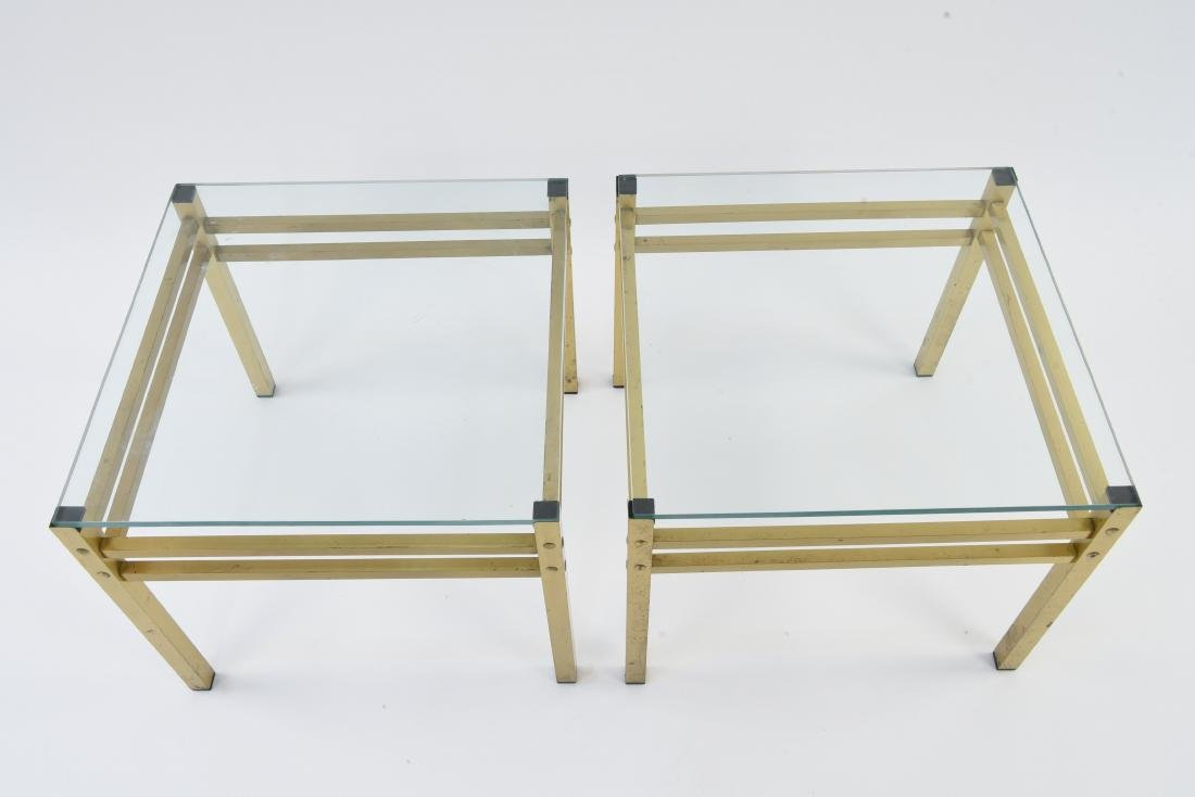 PAIR OF MID-CENTURY BRASS & GLASS SIDE TABLES - 3
