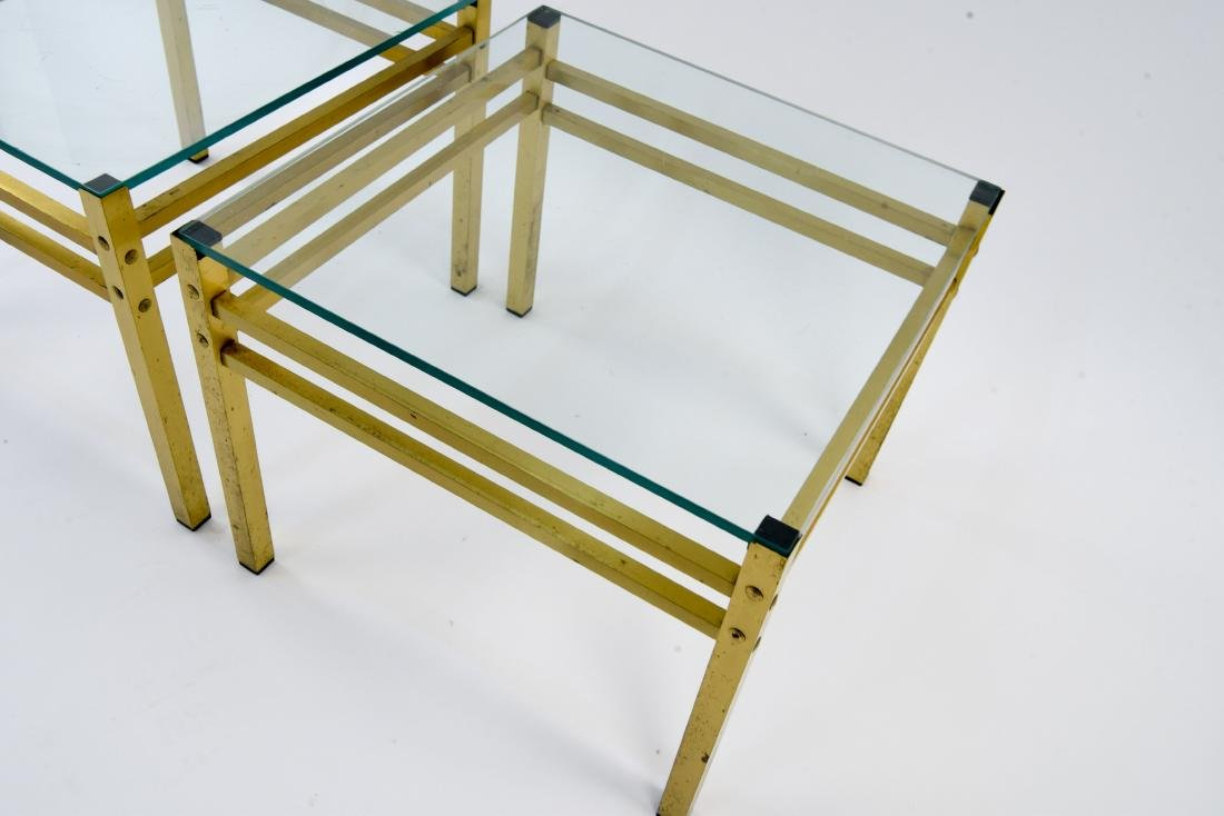 PAIR OF MID-CENTURY BRASS & GLASS SIDE TABLES - 4