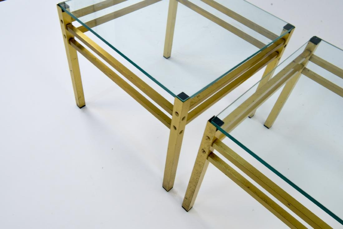 PAIR OF MID-CENTURY BRASS & GLASS SIDE TABLES - 5