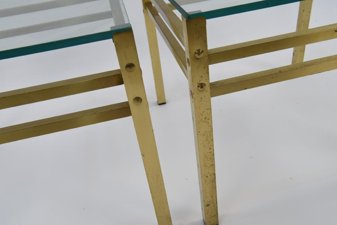 PAIR OF MID-CENTURY BRASS & GLASS SIDE TABLES - 6