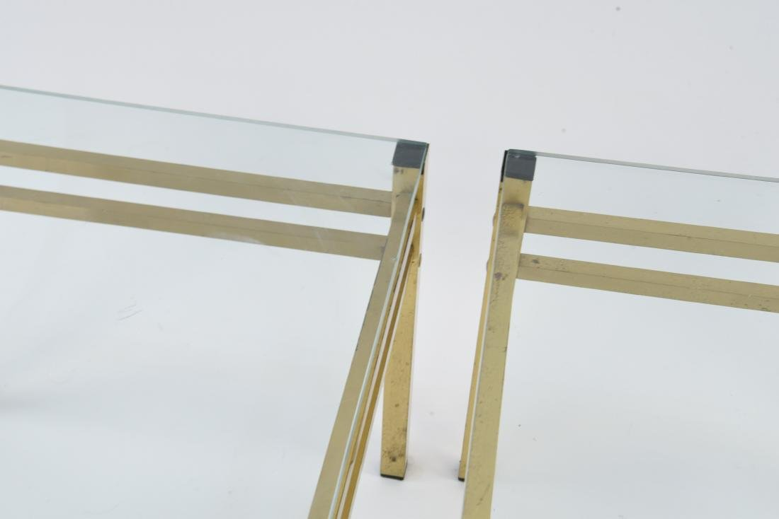 PAIR OF MID-CENTURY BRASS & GLASS SIDE TABLES - 9