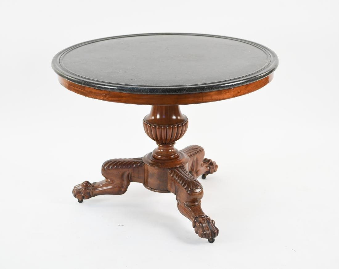 19TH C. ENGLISH MARBLE TOPPED PEDESTAL TABLE