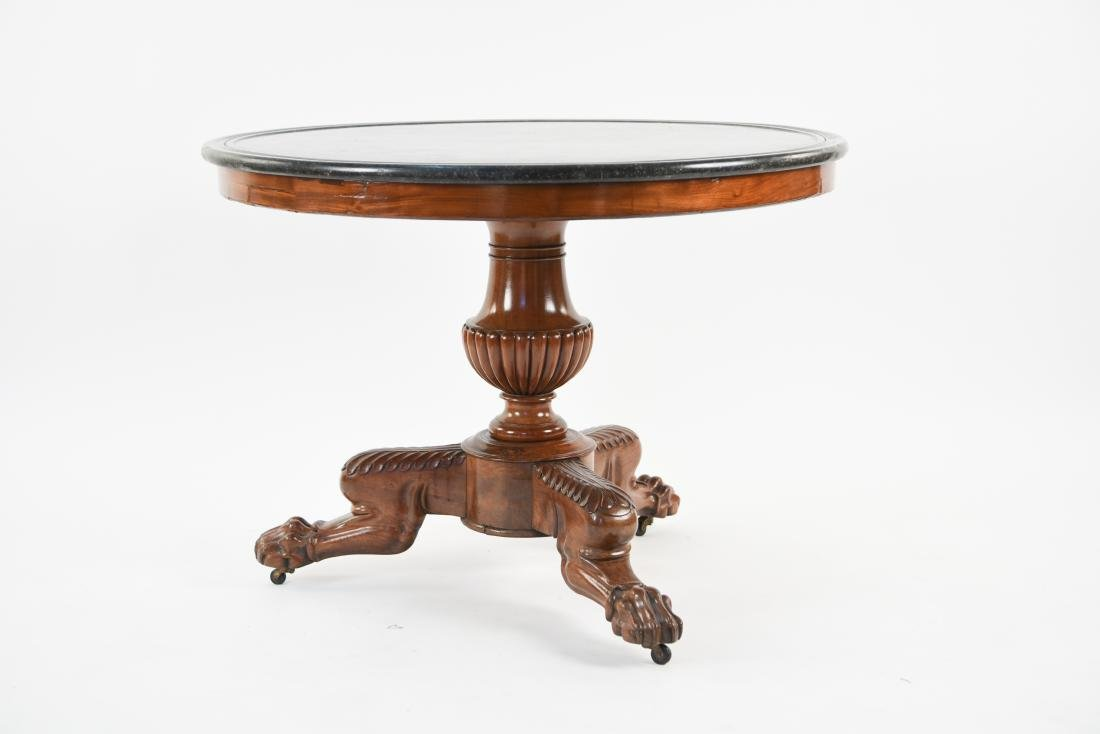 19TH C. ENGLISH MARBLE TOPPED PEDESTAL TABLE - 2