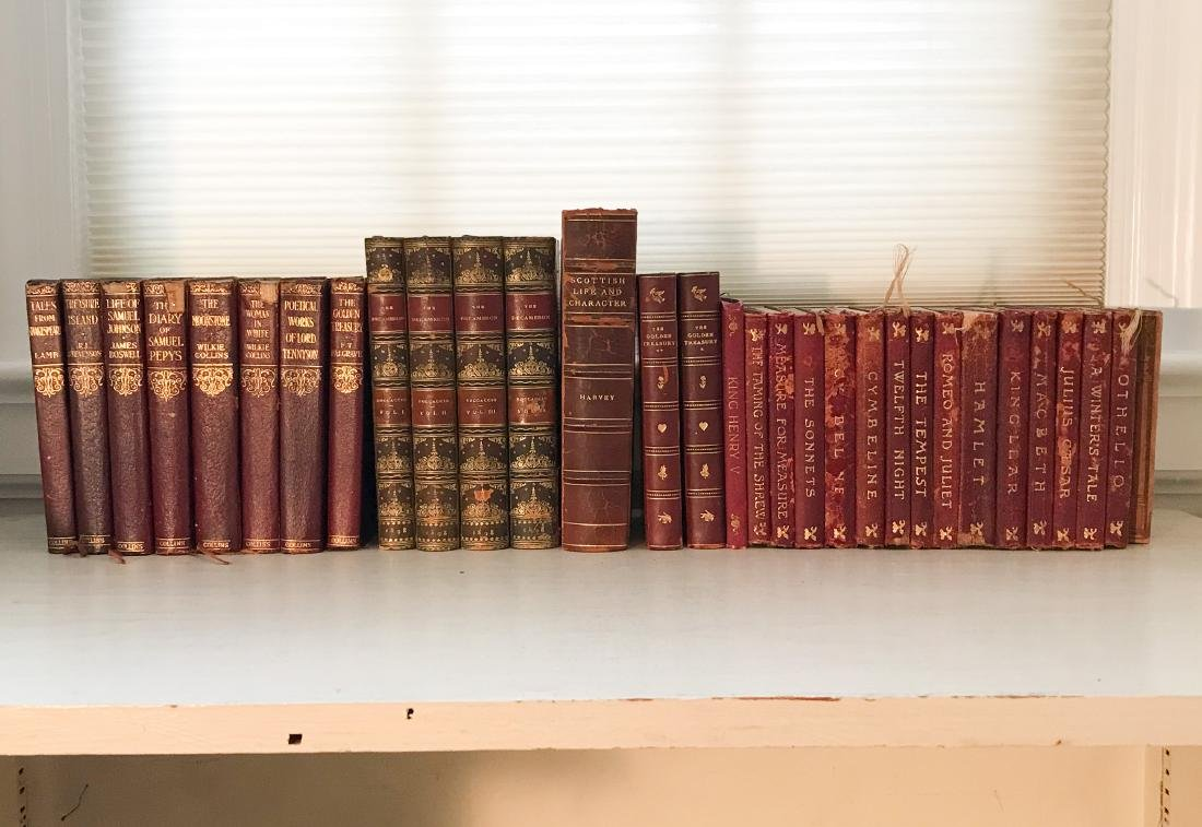 ANTIQUE AND VINTAGE LEATHER BOUND BOOKS