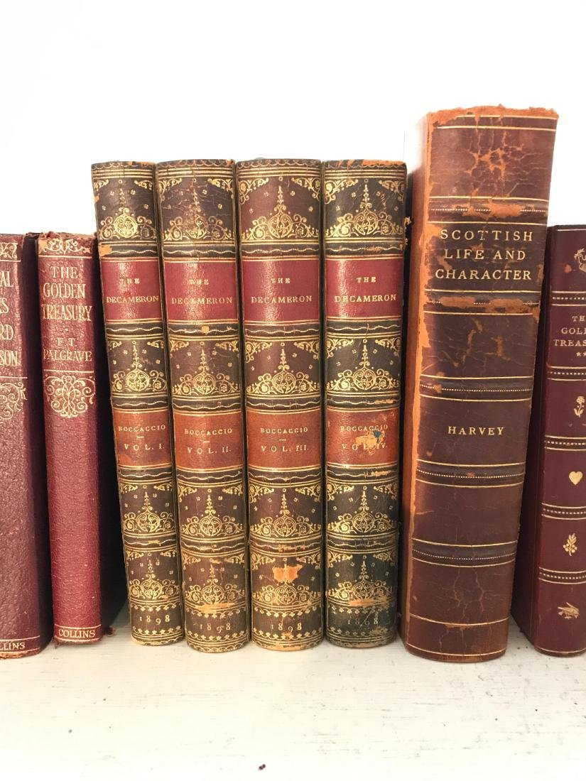 ANTIQUE AND VINTAGE LEATHER BOUND BOOKS - 4