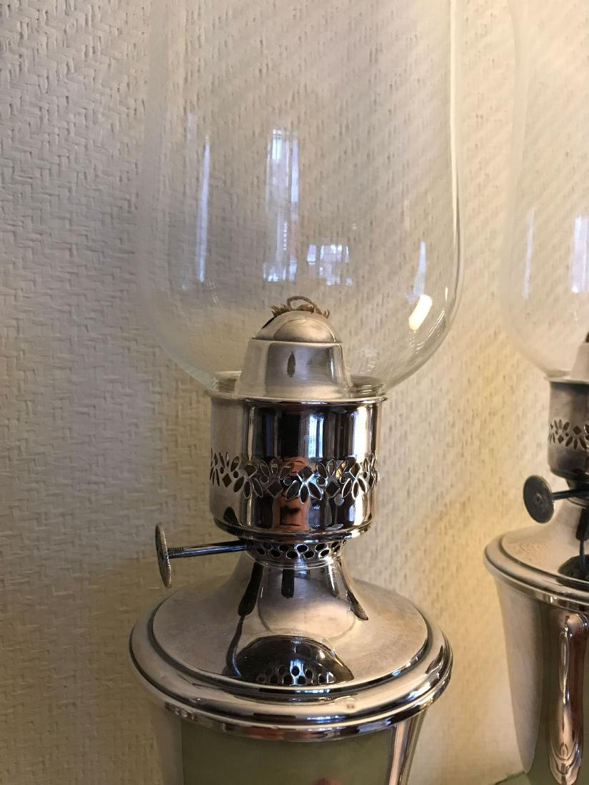 PAIR OF GORHAM STERLING SILVER OIL LAMPS - 2