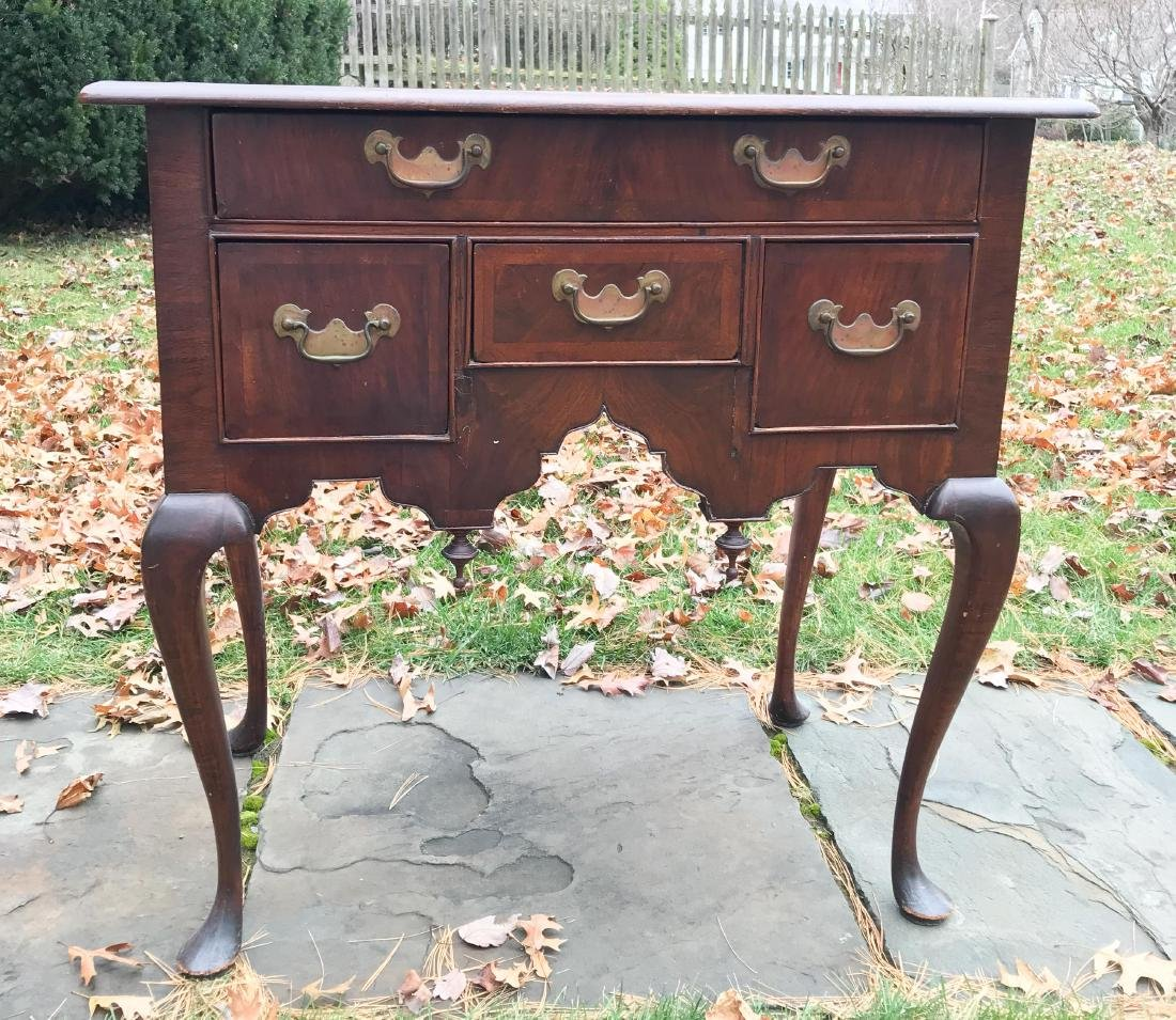 19TH C. QUEEN ANNE STYLE LOW BOY CHEST