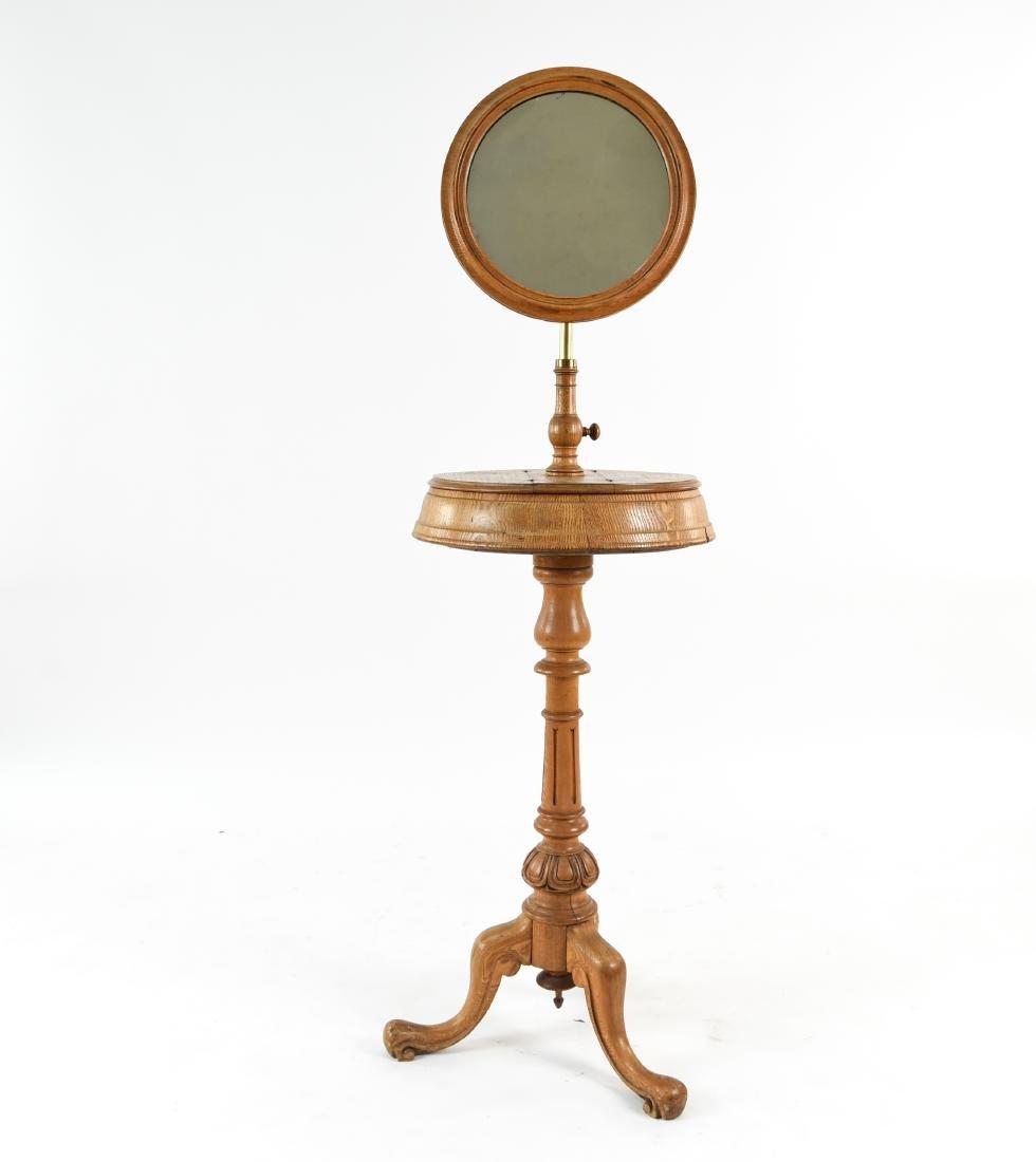 VICTORIAN MAHOGANY SHAVING TABLE W/ MIRROR