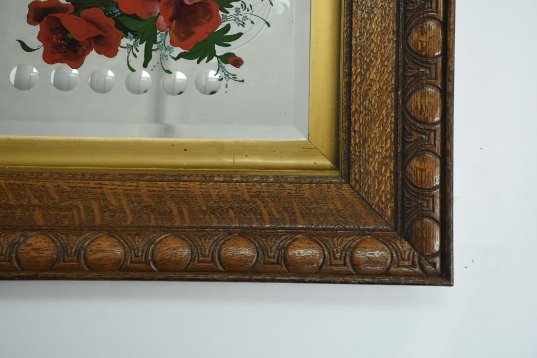 LATE 19TH C. ACID ETCHED REVERSE PAINTED MIRROR - 3