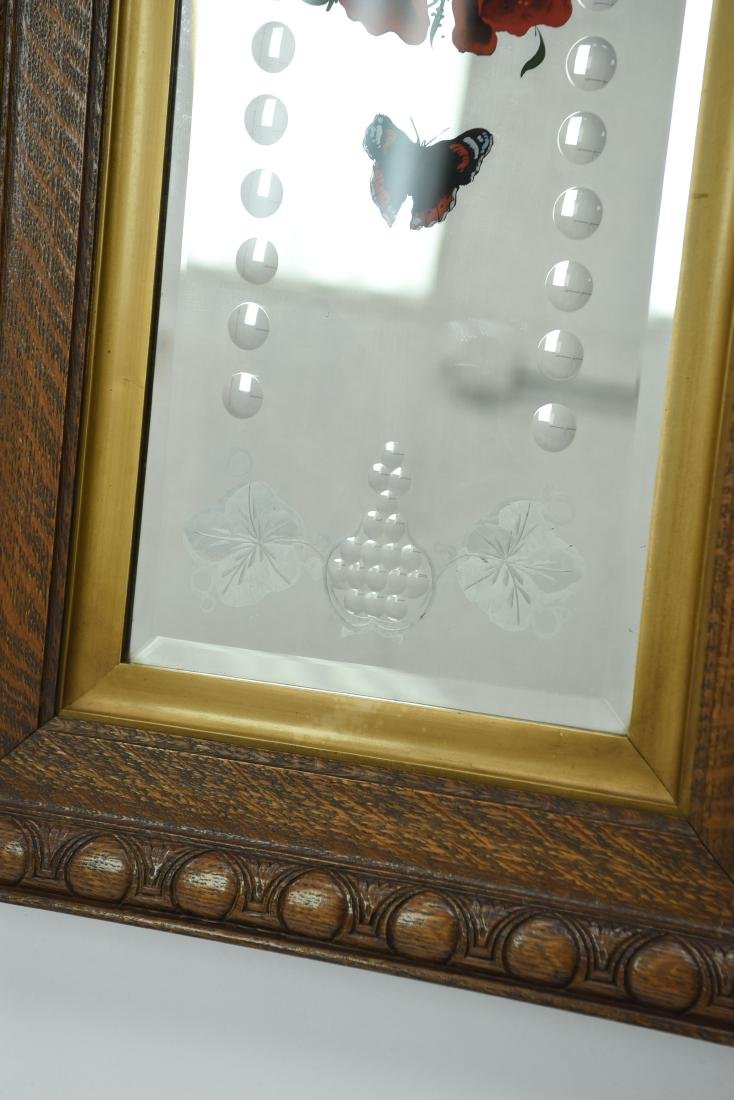 LATE 19TH C. ACID ETCHED REVERSE PAINTED MIRROR - 4