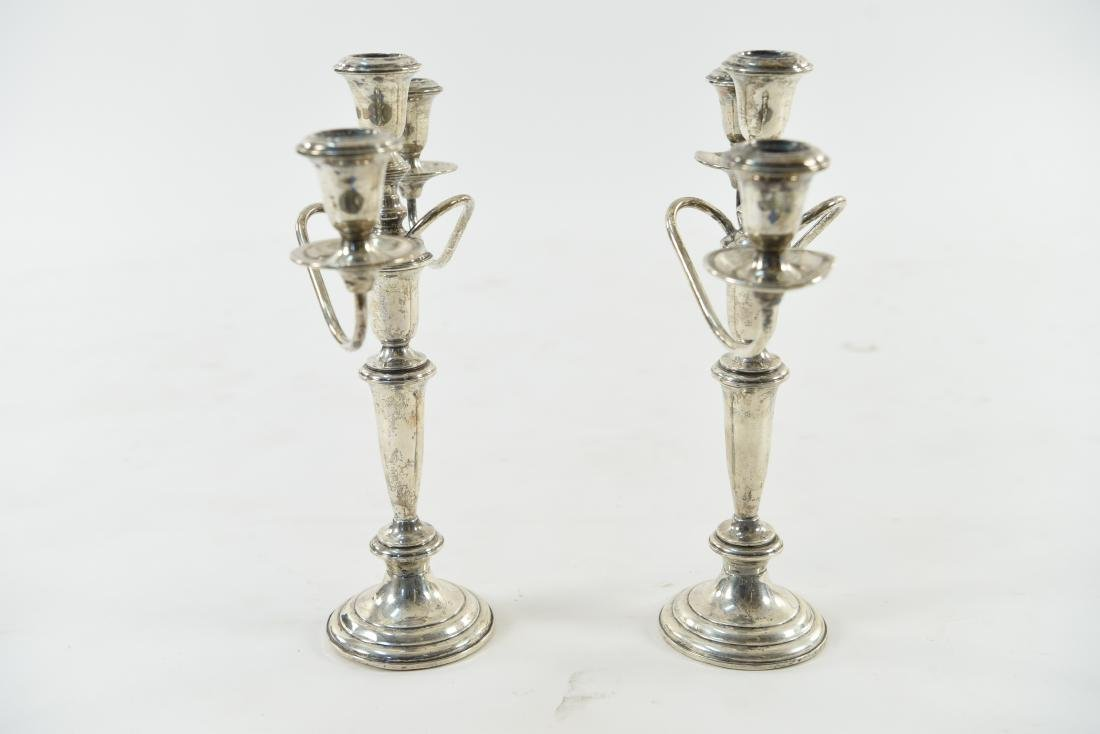 PAIR OF EMPIRE WEIGHTED STERLING CANDELABRAS - 8