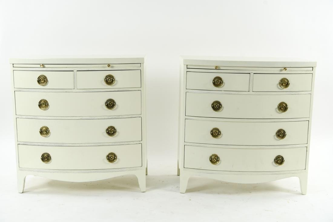 PAIR OF WHITE BOW FRONT CHESTS