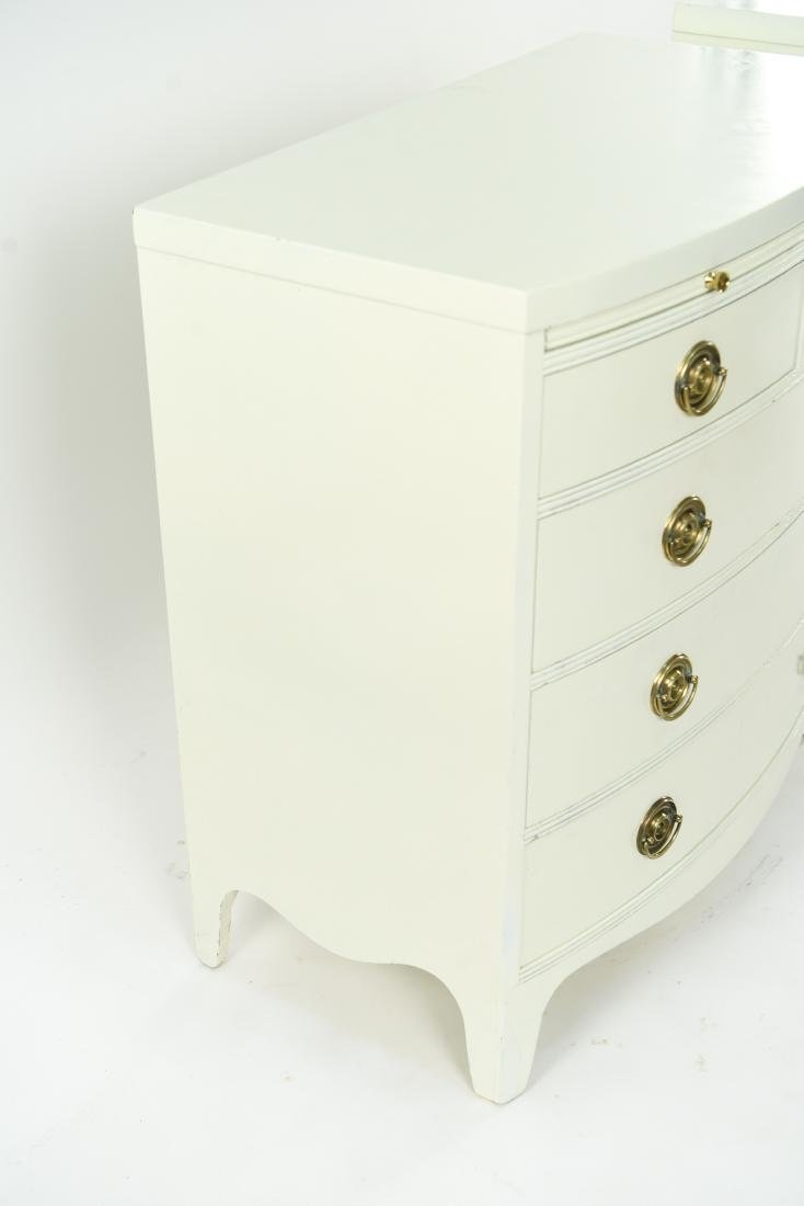 PAIR OF WHITE BOW FRONT CHESTS - 2