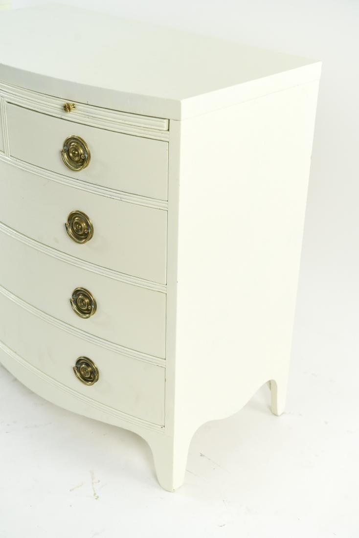 PAIR OF WHITE BOW FRONT CHESTS - 3