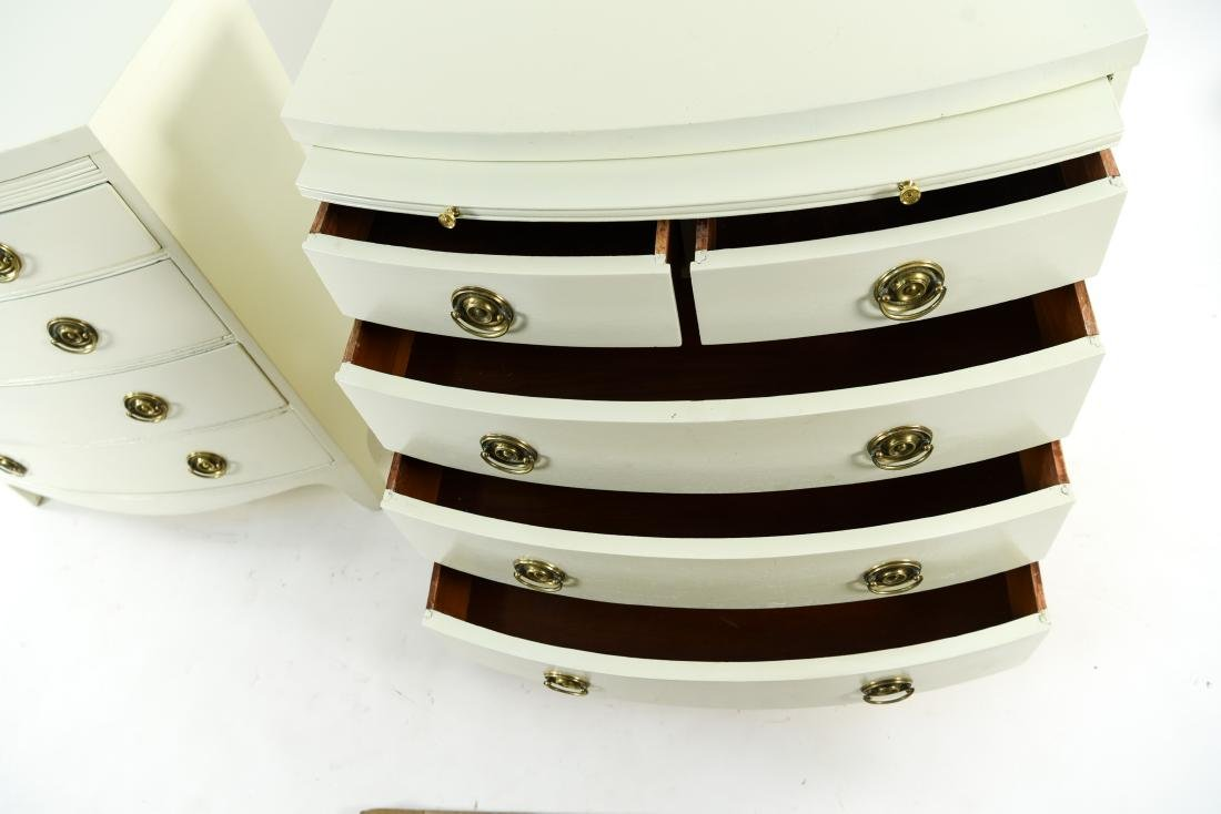 PAIR OF WHITE BOW FRONT CHESTS - 4