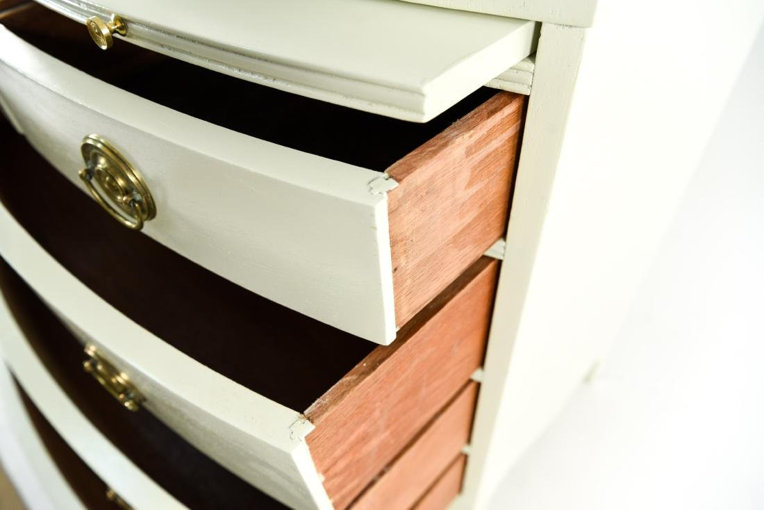 PAIR OF WHITE BOW FRONT CHESTS - 5