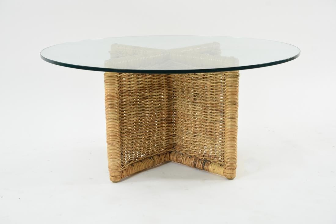 GLASS & WICKER COFFEE TABLE