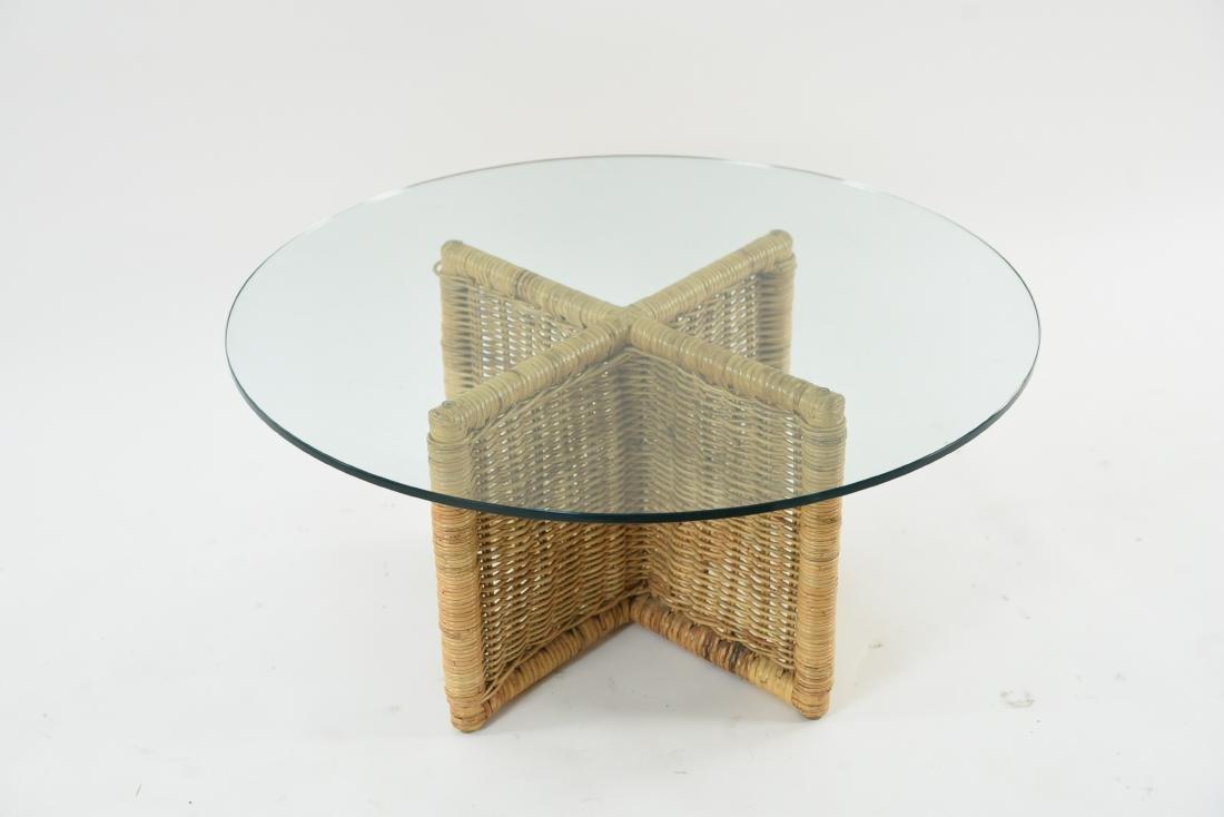 GLASS & WICKER COFFEE TABLE - 2
