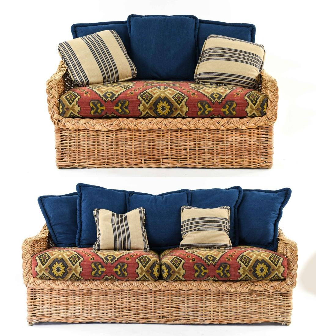 (2) WICKER SOFAS