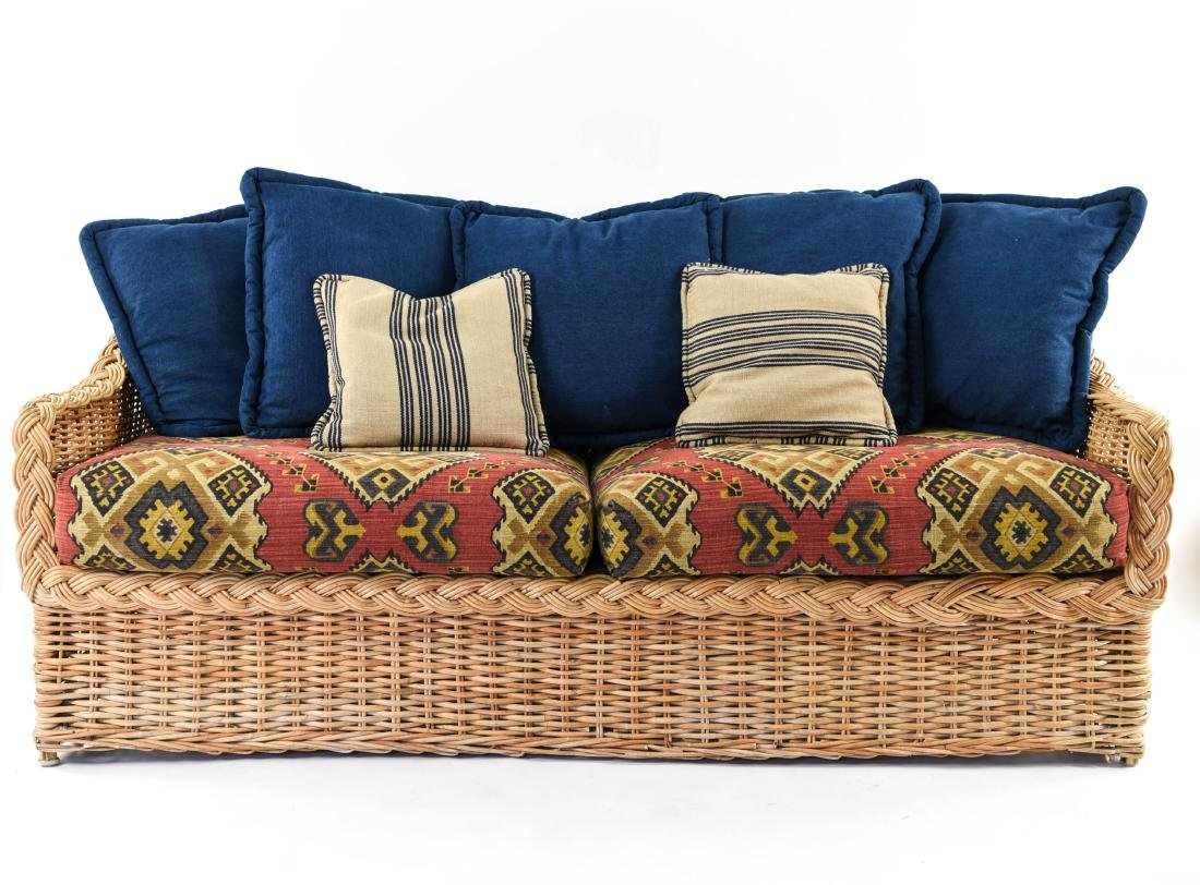 (2) WICKER SOFAS - 2
