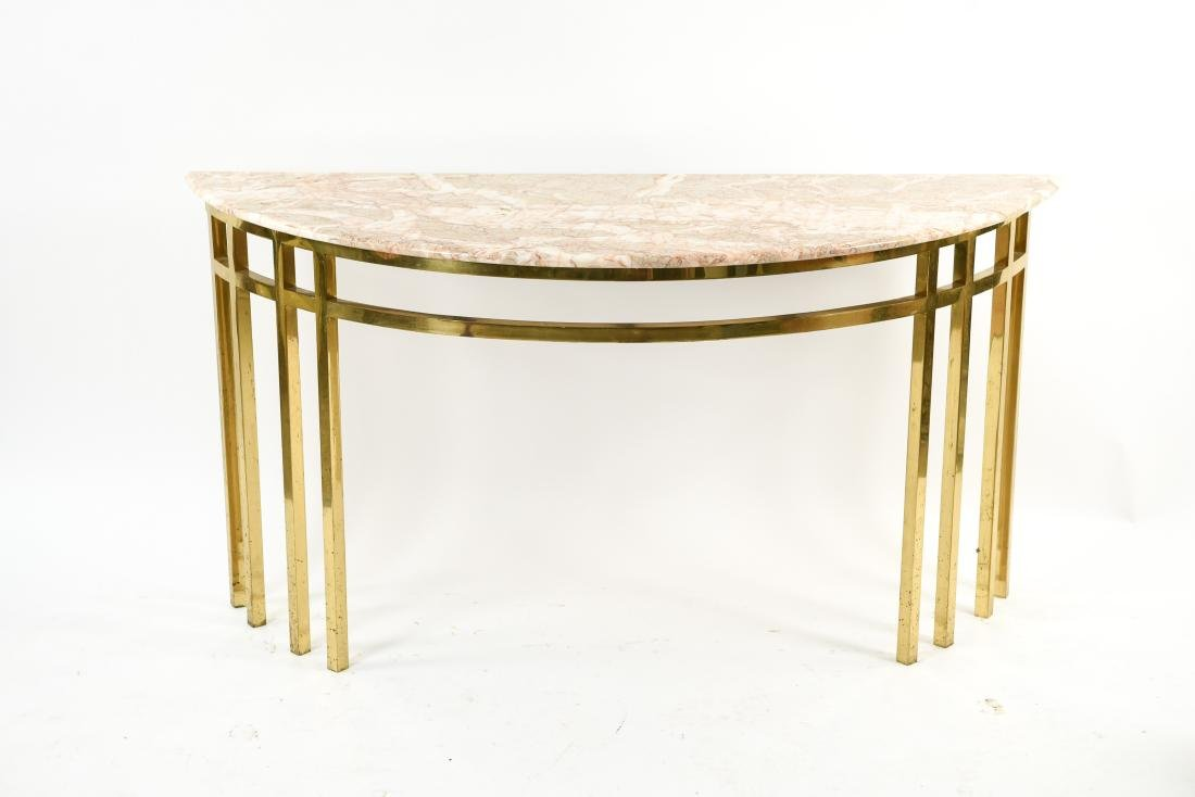 70'S BRASS & MARBLE TOP CONSOLE