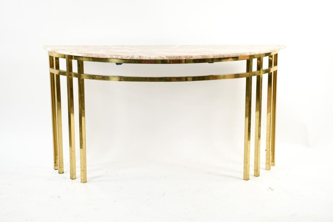 70'S BRASS & MARBLE TOP CONSOLE - 2