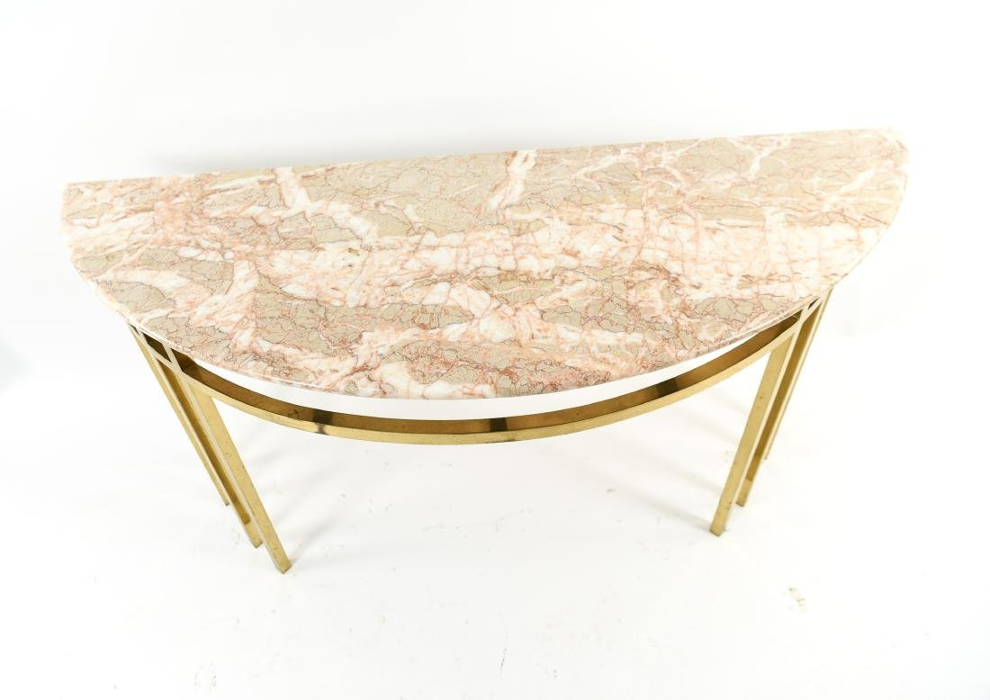 70'S BRASS & MARBLE TOP CONSOLE - 5