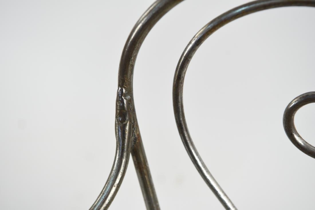 (2) SCROLLING IRON CHAIRS W/ WOVEN METAL SEATS - 6
