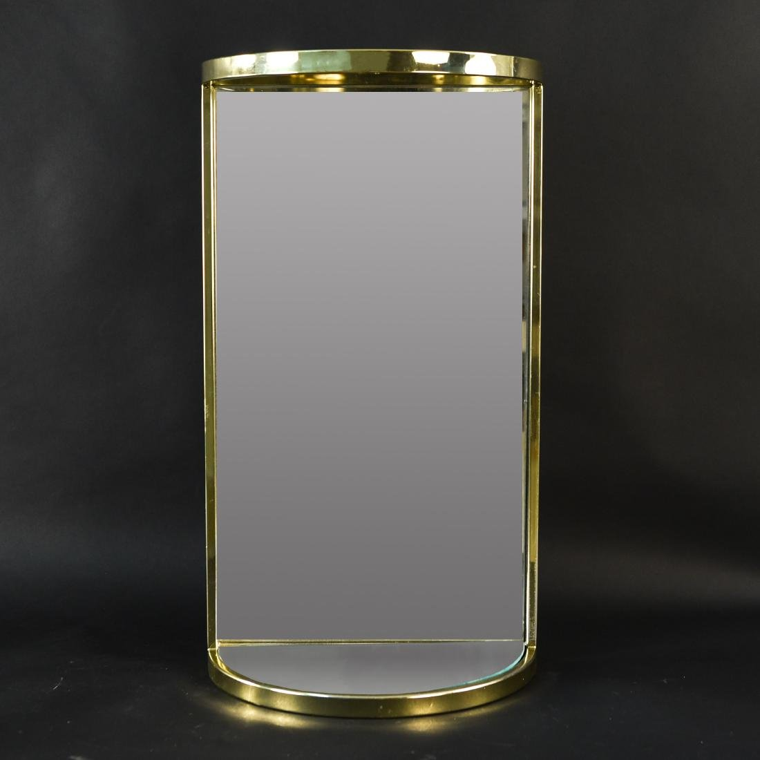 BRASS & MIRRORED DEMI-LUNE SIDE TABLE