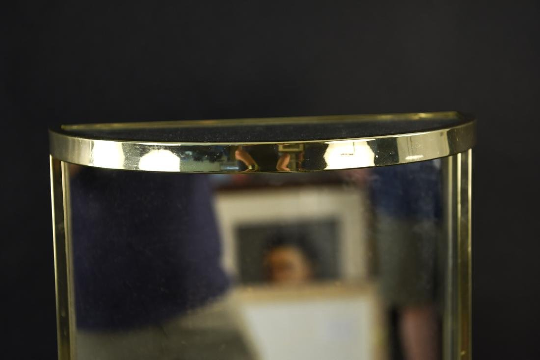 BRASS & MIRRORED DEMI-LUNE SIDE TABLE - 3