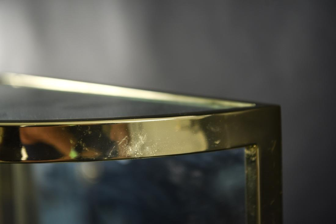 BRASS & MIRRORED DEMI-LUNE SIDE TABLE - 7