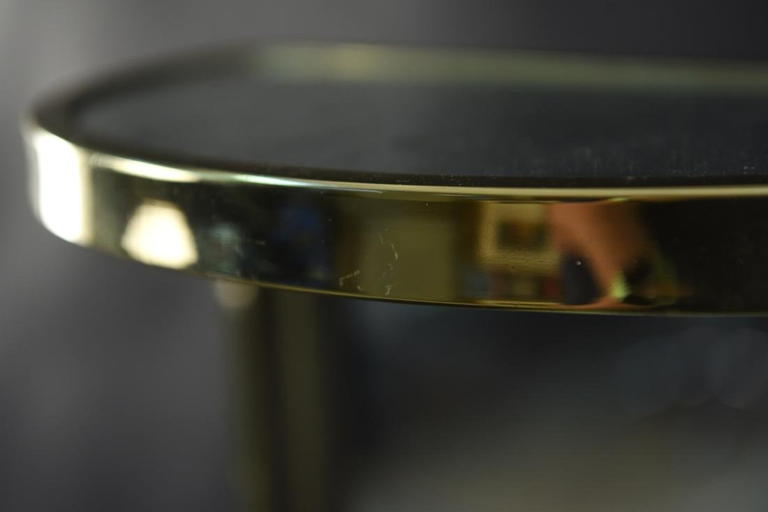 BRASS & MIRRORED DEMI-LUNE SIDE TABLE - 9