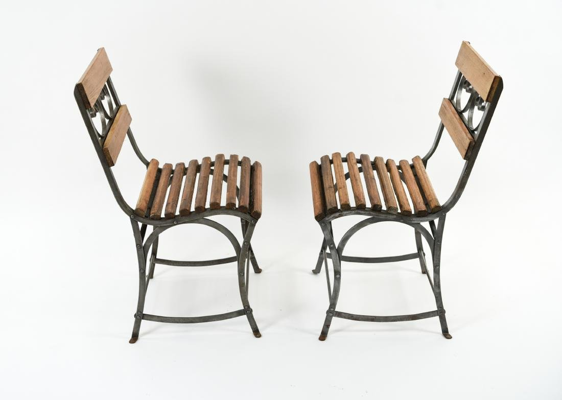 (4) IRON AND WOOD CAFE CHAIRS - 10