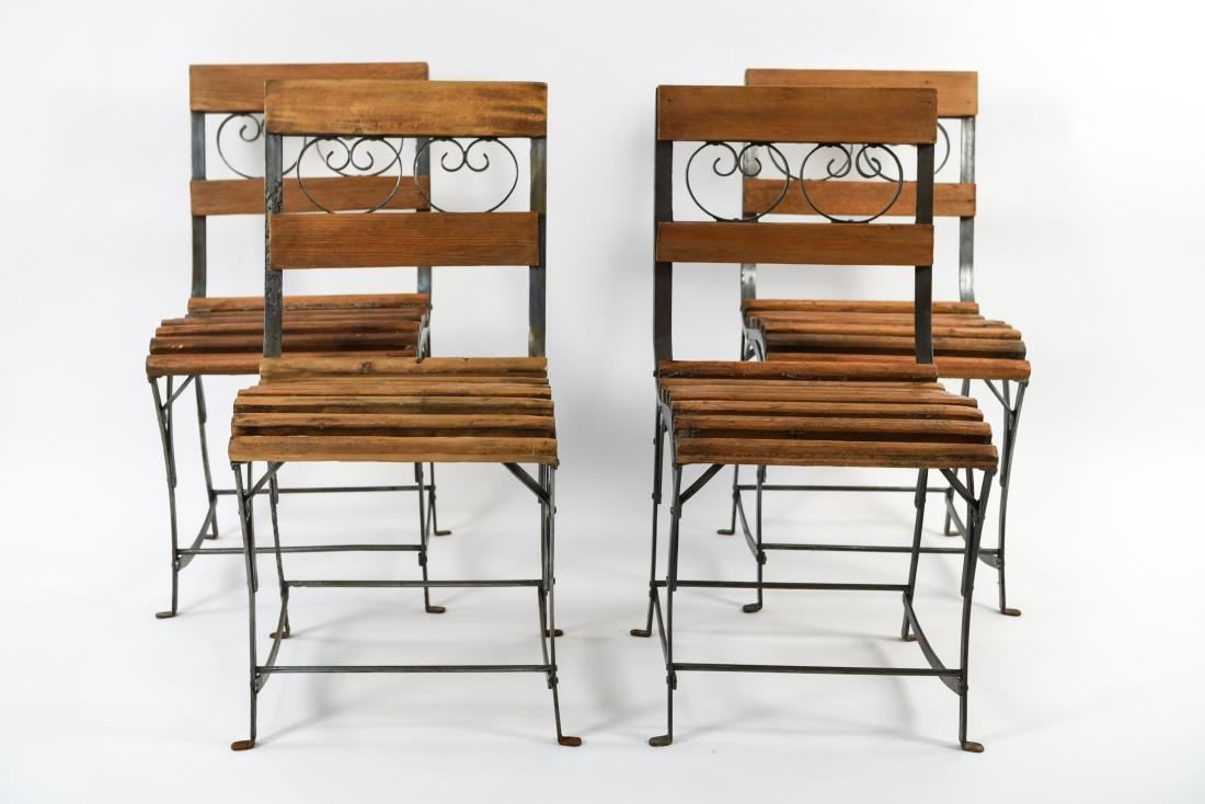 (4) IRON AND WOOD CAFE CHAIRS