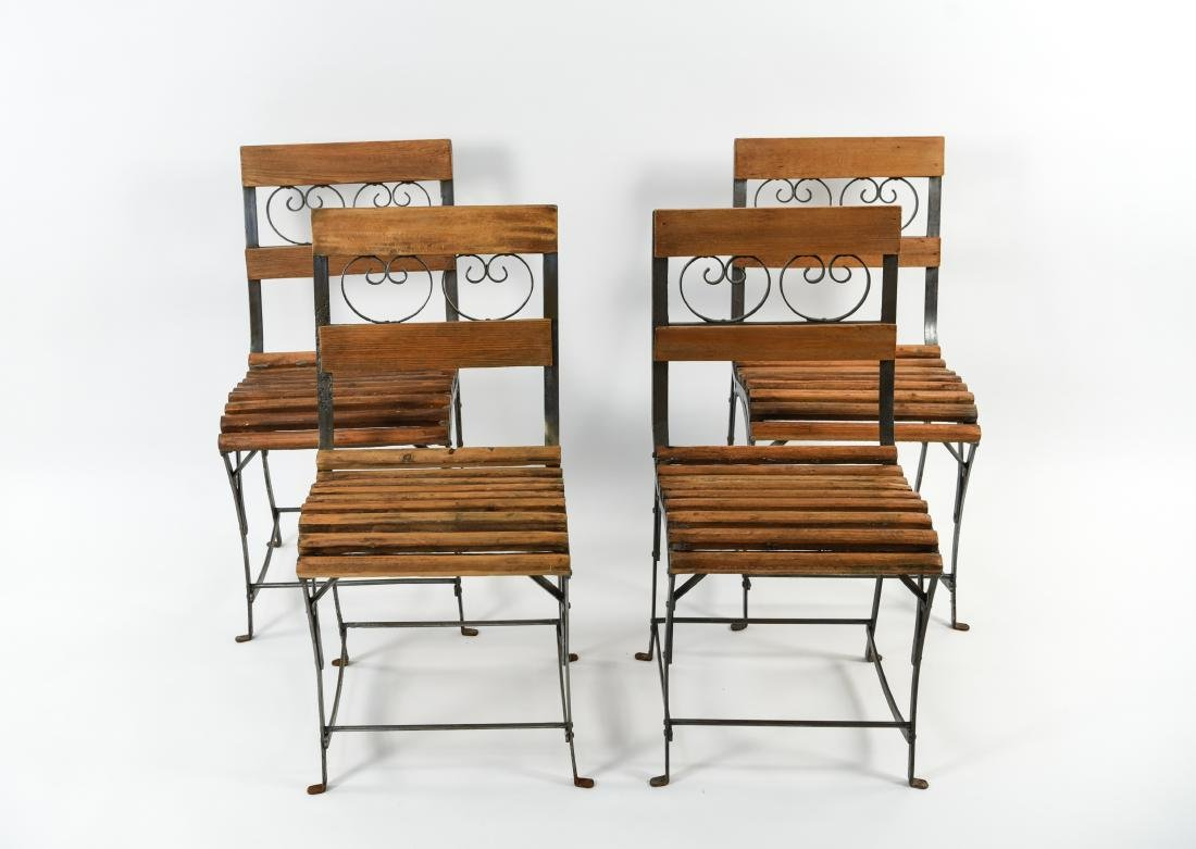 (4) IRON AND WOOD CAFE CHAIRS - 2