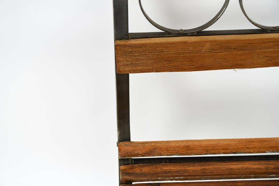 (4) IRON AND WOOD CAFE CHAIRS - 5