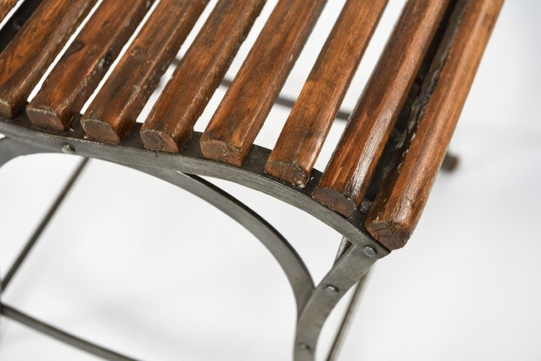 (4) IRON AND WOOD CAFE CHAIRS - 8