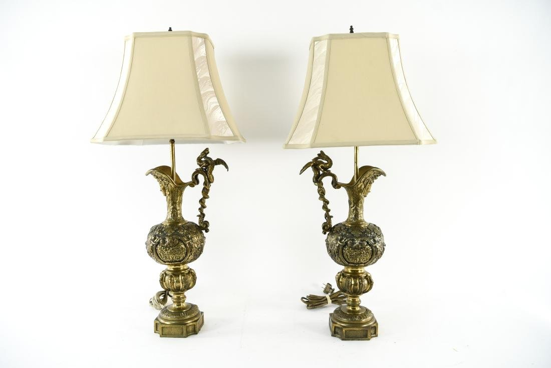 PAIR OF METAL EWER LAMPS
