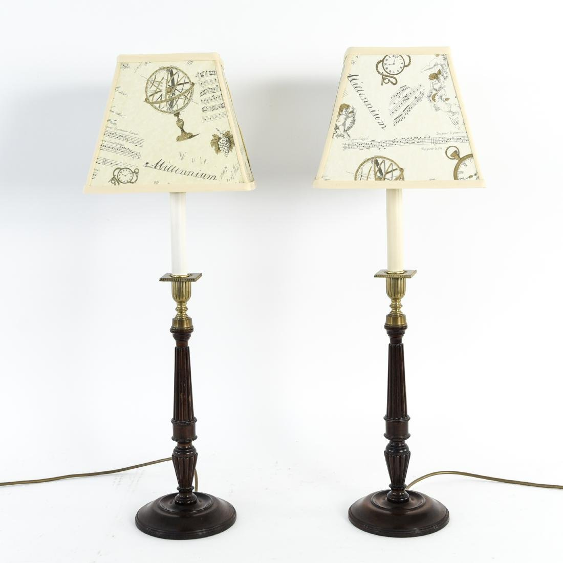 PAIR OF WOODEN COLUMN LAMPS